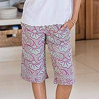 Rayon batik shorts, 'Gingko Leaf' - Batik Rayon Shorts in Mint and Magenta from Bali