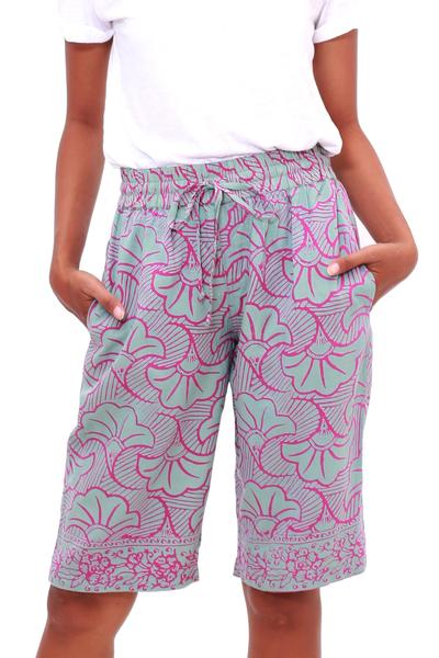 Rayon batik shorts, 'Gingko Leaf' - Batik Rayon Kimono Jacket in Mint and Magenta from Bali