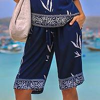 Batik rayon shorts, 'Midnight Fall' - Batik Rayon Shorts in Midnight and White from Bali