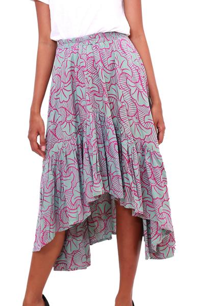 Rayon batik skirt, 'Gingko Leaf' - Batik Rayon Skirt in Green and Magenta from Bali