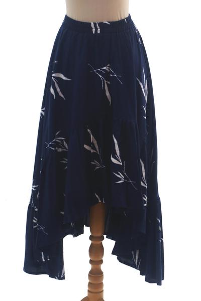 Rayon batik skirt, 'Midnight Fall' - Batik Rayon Skirt in Midnight and White from Bali