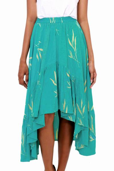 Batik Rayon Skirt in Turquoise and Lemon from Bali