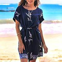 Rayon batik shift dress, 'Midnight Fall' - Batik Rayon Shift Dress in Midnight and White
