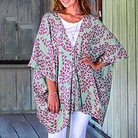 Batik rayon kimono jacket, 'Fall Design' - Batik Rayon Kimono Jacket in Mint and Magenta from Bali