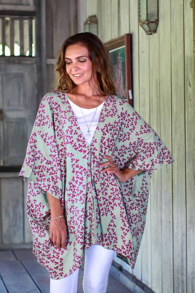 Rayon batik kimono jacket, 'Fall Design' - Batik Rayon Kimono Jacket in Mint and Magenta from Bali