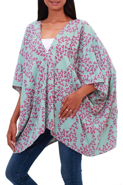 Batik Rayon Kimono Jacket in Mint and Magenta from Bali