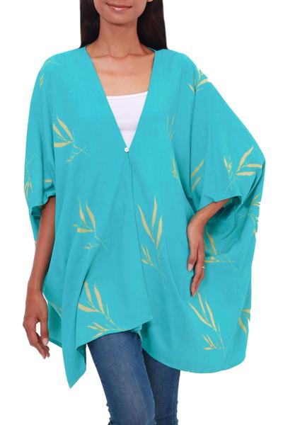 Rayon batik kimono jacket, 'Balinese Breeze in Turquoise' - Batik Rayon Kimono Jacket in Turquoise and Lemon from Bali