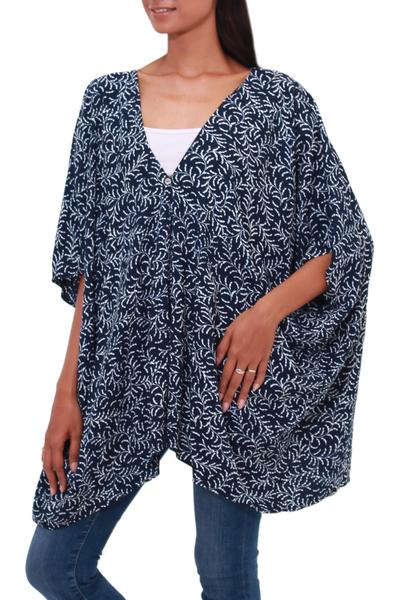Batik Rayon Kimono Jacket in Midnight and White from Bali