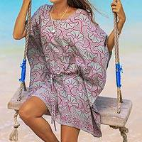 Batik rayon poncho, 'Minty Fall' - Batik Rayon Poncho in Mint and Magenta from Bali