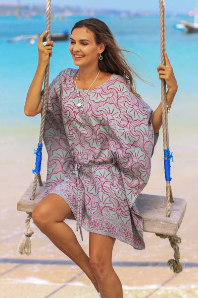 Rayon batik caftan, 'Gingko Leaf' - Batik Rayon Caftan in Mint and Magenta from Bali