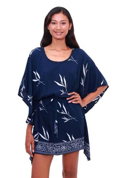 Batik Rayon Caftan in Midnight and White from Bali