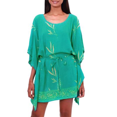 Batik Rayon caftan in Turquoise and Lemon