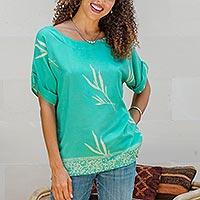Rayon batik blouse, 'Balinese Breeze in Turquoise'