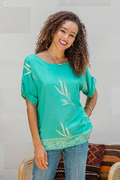 Batik rayon blouse, 'Young Sprout' - Batik Rayon Blouse in Turquoise and Lemon from Bali