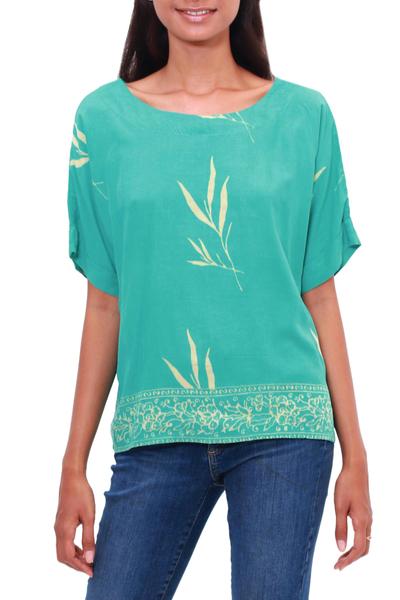 Rayon batik blouse, 'Balinese Breeze in Turquoise' - Batik Rayon Blouse in Turquoise and Lemon from Bali