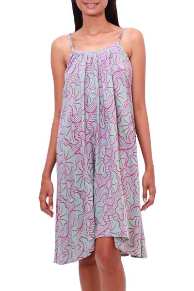 Rayon batik sundress, 'Gingko Leaf' - Batik Rayon Sundress in Mint and Magenta from Bali