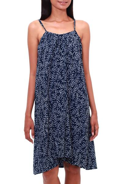Rayon batik sundress, 'Many Leaves' - Batik Rayon Sundress in Midnight and White from Bali