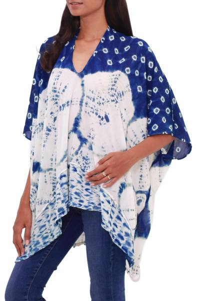 Indigo and Ivory Tie-Dyed Rayon Poncho from Java