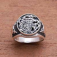 Sterling silver signet ring, 'Bali Naga' - Sterling Silver Dragon Signet Ring from Bali