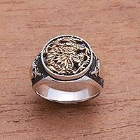 Sterling silver and brass signet ring, 'Bali Naga'