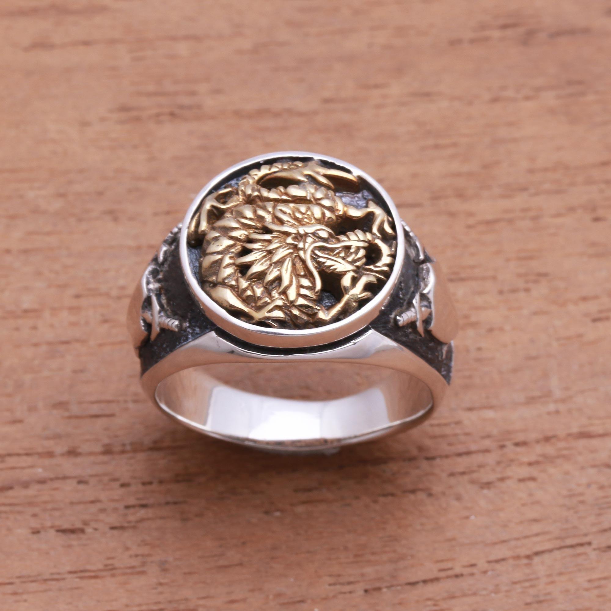 Royal Bali Handmade Dragon Bypass Ring for Women Sterling Silver