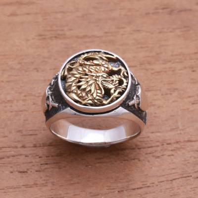 Sterling silver and brass signet ring, 'Bali Naga' - Sterling Silver and Brass Dragon Signet Ring from Bali