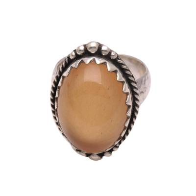 Oval Yellow Agate Single-Stone Ring from Bali