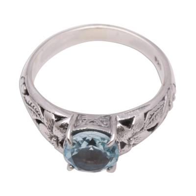 Floral Blue Topaz Single-Stone Ring from Bali