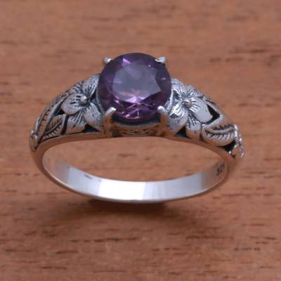 Amethyst single-stone ring, 'Floral Glint' - Floral Amethyst Single-Stone Ring from Bali