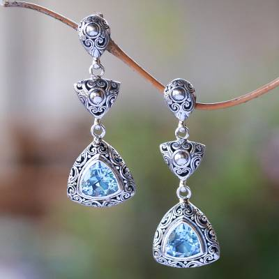 Blue topaz dangle earrings, 'Triangles of Swirls' - Triangular Blue Topaz Dangle Earrings from Bali