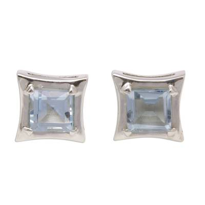 Square Blue Topaz Stud Earrings Crafted in Bali