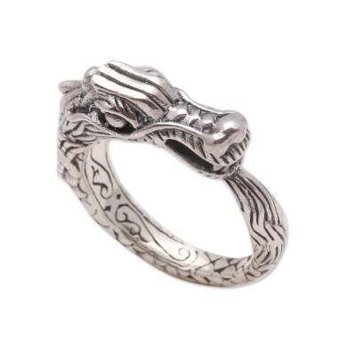 Sterling silver band ring, 'Dragon Roar' - Handcrafted Sterling Silver Dragon Band Ring from Bali