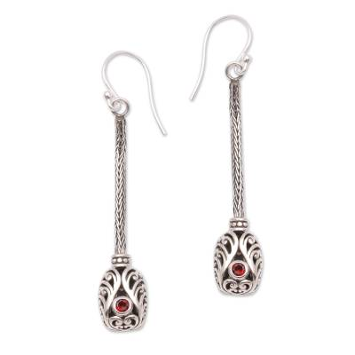 Garnet dangle earrings, 'Grand Fascination' - Garnet and Sterling Silver Naga Chain Dangle Earrings
