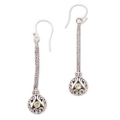 Peridot and Sterling Silver Naga Chain Dangle Earrings