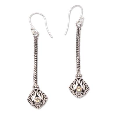 Citrine and Sterling Silver Naga Chain Dangle Earrings