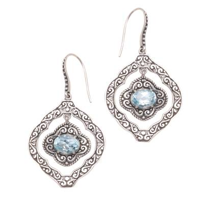 Blue topaz dangle earrings, 'Delightful Windows' - Blue Topaz and Sterling Silver Ornate Frame Dangle Earrings