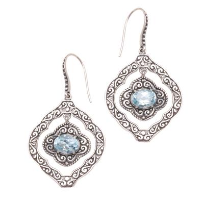 Blue Topaz and Sterling Silver Ornate Frame Dangle Earrings
