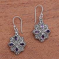 Amethyst dangle earrings, 'Elegant Petals' - Amethyst and Sterling Silver Flower Motif Dangle Earrings
