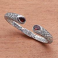 Garnet cuff bracelet, 'Fiery Glimpse' - Handcrafted Garnet and Sterling Silver Cuff Bracelet