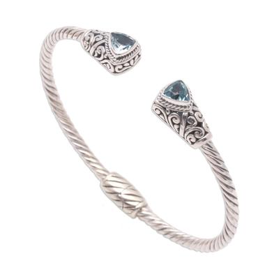 Blue topaz cuff bracelet, 'Sky Hint' - Handcrafted Blue Topaz and Sterling Silver Cuff Bracelet