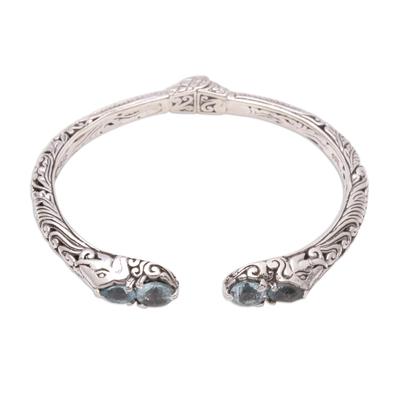 Elephant Motif Blue Topaz Cuff Bracelet from Bali