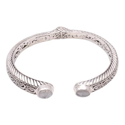 Scroll Pattern Rainbow Moonstone Cuff Bracelet from Bali