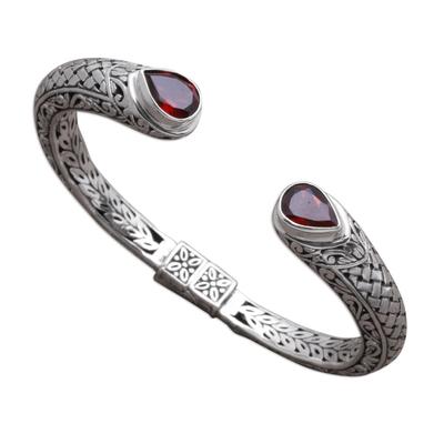 Weave Pattern Garnet Cuff Bracelet from Bali