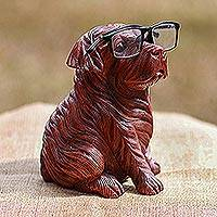Wood eyeglasses holder, 'Obedient Pug' - Hand-Carved Suar Wood Dog Eyeglasses Holder