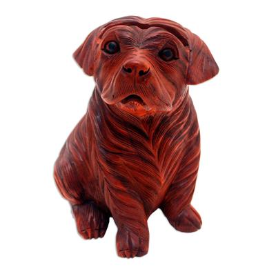 Hand-Carved Suar Wood Dog Eyeglasses Holder