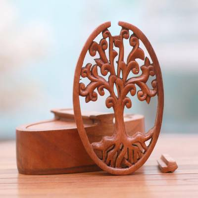 Wood puzzle box, 'Tree Oval' - Tree-Themed Suar Wood Puzzle Box from Bali