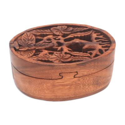 Wood puzzle box, 'Plumeria Oval' - Floral Suar Wood Puzzle Box from Bali