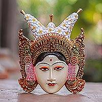 Wood wall sculpture, 'Tapel Kraton' - Hand-Painted Wood Wall Sculpture of Balinese Royalty