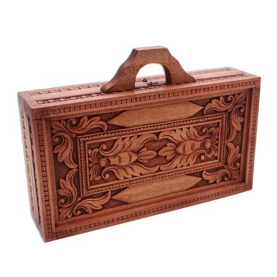 Wood backgammon set, 'Splendid Scene' - Handcrafted Wood Backgammon Set with Floral Motif Case