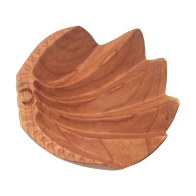 Suar wood catchall, 'Secure' (11.5 inch) - Hand Carved Suar Wood Clam Shell Motif Catchall from Bali